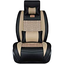 FREESOO Car Seat Covers Full Set, PU Leather Car Seat Covers for 5 Seats Vehicle Suitable for Year Round Use(Black)