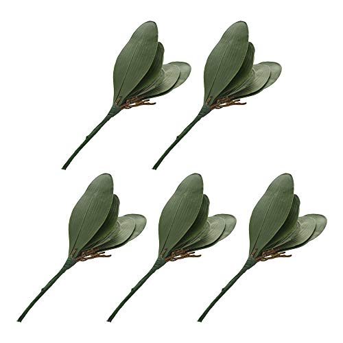 ZFRANC Artificial Foliage Orchid Leaf, Simulation Green Phalaenopsis Orchid Leaves Latex Real Touch Plants Arrangement for Flowers Garden & Wall Decoration,Pack of 5