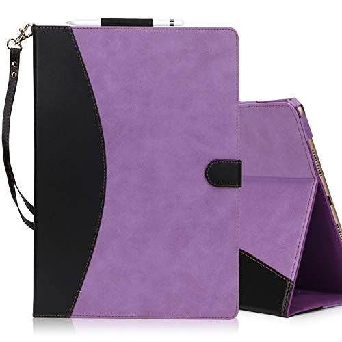 FYY [Leather Case] with [Apple Pencil Holder] for Apple iPad Pro 10.5 2017, Flip Folio Stand Case Protective Cover with [Auto Sleep Wake Function], Multiple Stand Angles, Card Slots Purple