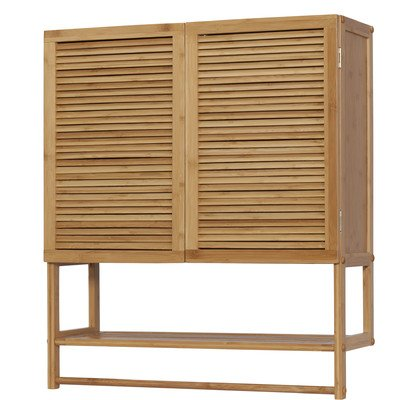 CreativeWare Ecostyle Louvered Bamboo 2 Door Wall Cabinet