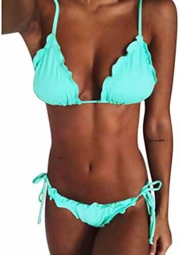 Dayupo Women Sling Backless Swimsuit, New Fashion Solid Thongs Split Bikini Suit Low Waist Two Piece Beachwear