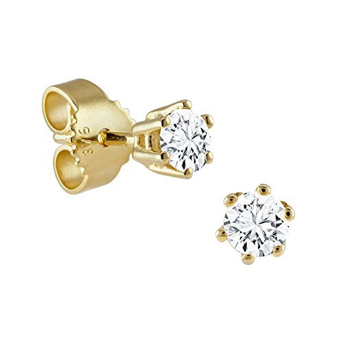 Diamond Line - Boucles d'Oreilles Or Jaune 375 Diamant 0.30 ct blanc taille brillant - 122171