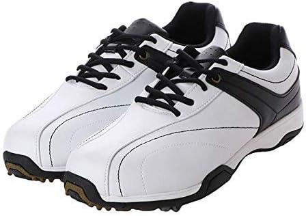 メンズ ゴルフシューズ ソフトスパイク (IG-0S1008) シューレース式 3E ホワイト×ブラック