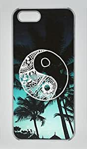 Cute Sky Beach Palm Tree Good Vibes Iphone 5 5S Hard Shell with Transparent Edges Cover Case by Lilyshouse
