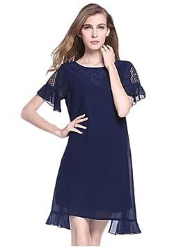 Mujer Vestidos Casual 2016 Verano Mujer Simple Sólido Loose Vestido, cuello redondo encima de rodilla