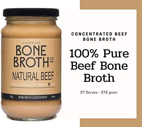 Australian Beef Bone Broth Concentrate - New 13 oz Jar (375 gram) - Neutral flavour - Super healthy nutrient dense concentrate - Great for soups, stock beverage drink. Made in Australia