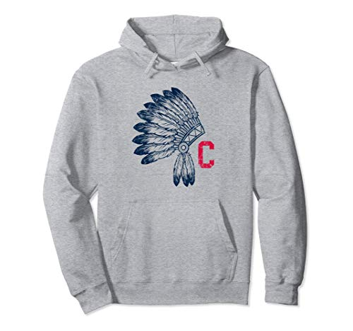 Unisex Block C with Native American Headdress Cleveland Hoodie Large Heather Grey -