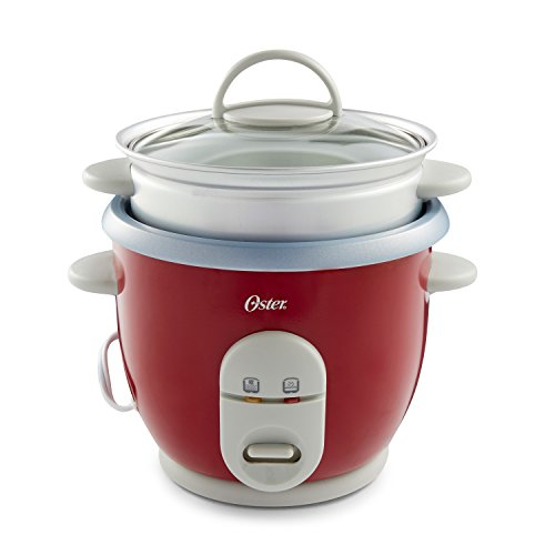 Oster 6-Cup Rice Cooker with Steamer, Red (004722-000-000)