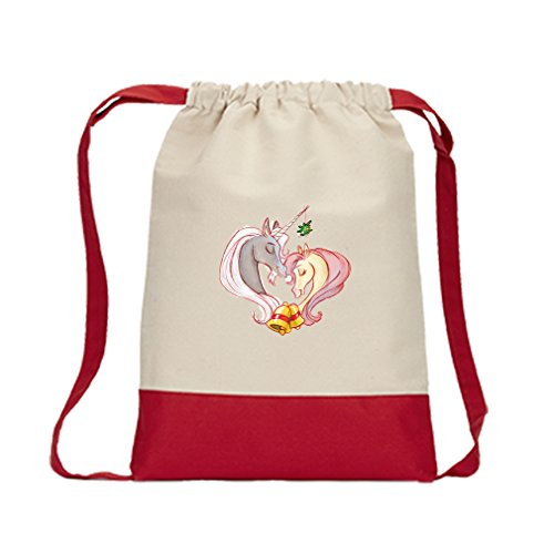 Backpack Color Drawstring Couple Of Unicorns Vintage Look By Style In Print | Red by Style in Print