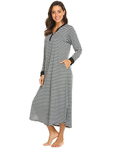 Ekouaer Womens Striped Nightdress,Long Loungewear Nightgown (Grey White Striped, Medium)