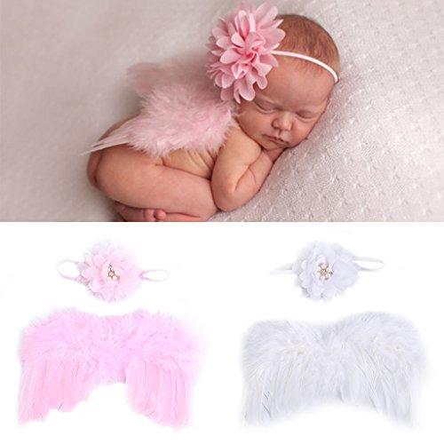 Abicial Newborn Baby Girl Boy Photography Prop, Fashion Newborn Baby Photo Angel Costume, Crochet Knit Costume Prop Photo Set Gift]()
