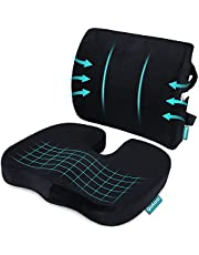 Coccyx Orthopedic Memory Foam Seat Cushion and Lumbar Support Pillow for Low Back Tailbone Sciatica Pain Relief - Improves Posture - Office Chair Car Seat Cushion Wheelchair Black Qutool