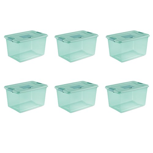 (Sterilite 15077Y06 64 Qt, 61L Fresh Scent Box, Aqua Tent base with Aqua Chrome Lid & Teal Splash Latches, 6-Pack)