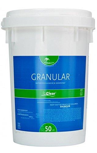 Rx Clear Stabilized Granular Chlorine | One 50-Pound Bucket | Use As Bactericide, Algaecide, and Disinfectant in Swimming Pools and Spas | Slow Dissolving and UV - 6 Bucket Lb