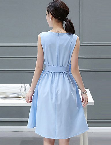 PU&PU Robe Aux femmes Trapèze Simple,Couleur Pleine Col Arrondi Mi-long Polyester , light blue-s , light blue-s