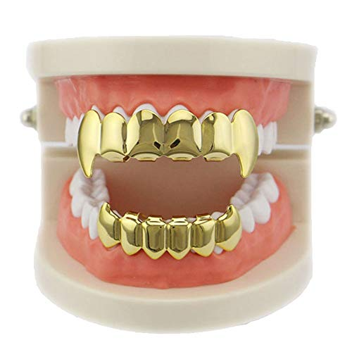 Daycindy 14k Gold Plated Hip Hop Top Bottom Teeth Mouth Grills - Teeth Grills Top