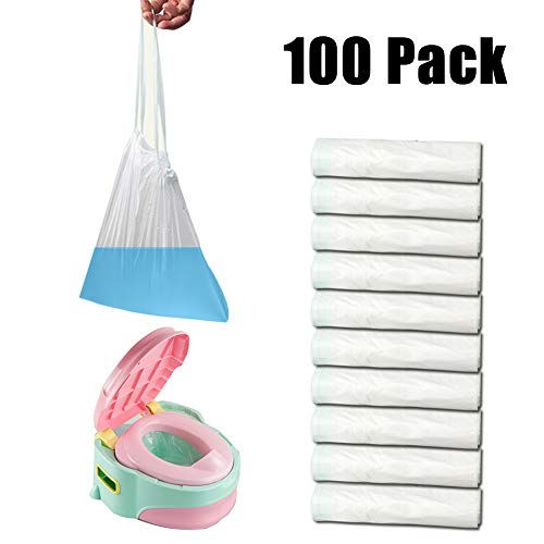 Jelacy Potty Chair Bags (100 Pack),Disposable Travel Potty Chair Liners for Kids and Baby (Potette Plus 30 Pack Value Pack Liners)