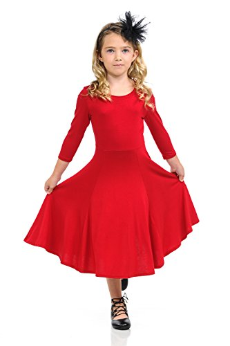 Honey Vanilla Girls' Princess Seam A-Line Dress with Full Skirt X-Large 11-12 Years Red