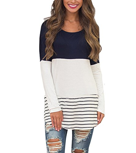 - Hount Casual O Neck Color Block Tunics Tops for Women Striped Shirts Long Sleeve (Medium, Navy Blue)