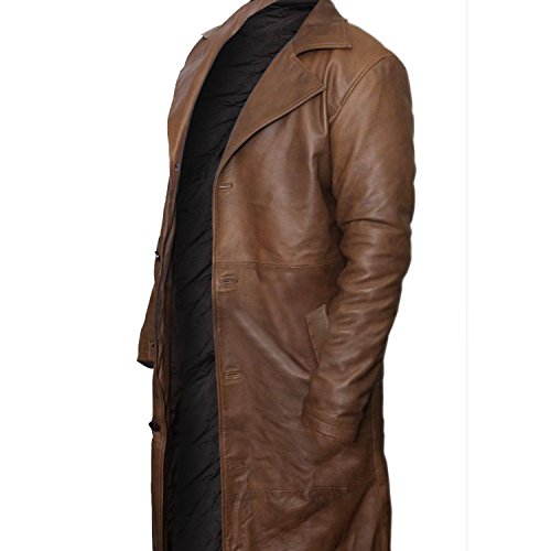 Premium Leather Products Batman V Superman Dawn Of Justice - Distressed Brown Leather Trench Coat (XXX-Large) by Premium Leather Products (Image #1)