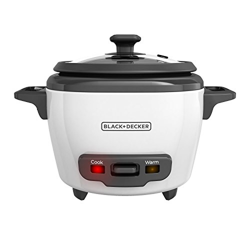 BLACK+DECKER 3-Cup Cooked/1.5-Cup Uncooked Rice Cooker, Single-Serve, White, (Delicious Rice)