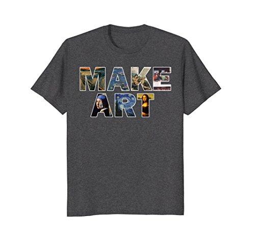 Mens MAKE ART Fun Humor Artistic Painting Artsy Artist T-Shirt Large Dark - Amazon Com Paintings