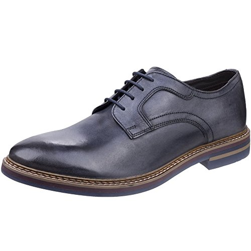 Base London Mens Shilling Waxy Leather Chiselled Tip Derby Style Shoes Azul Marino