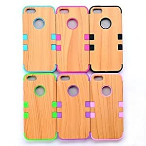 RC - Colorful Heavy Duty Wood Full Body Cover Case for iPhone 5 5S , Black