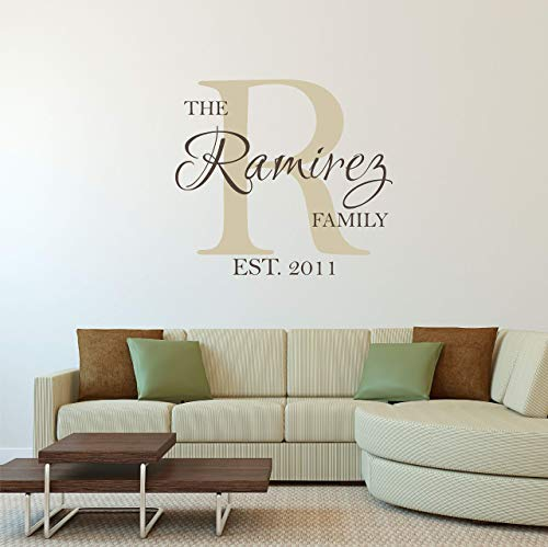 Custom Family Name Wall Decal - Personalized Name Wall Sticker - Custom Name Wall Sign - Monogram Stencil -