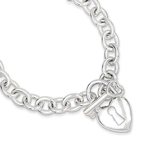 Argent Sterling poli Bracelet Motif coeur et Clé-JewelryWeb 7,5 cm
