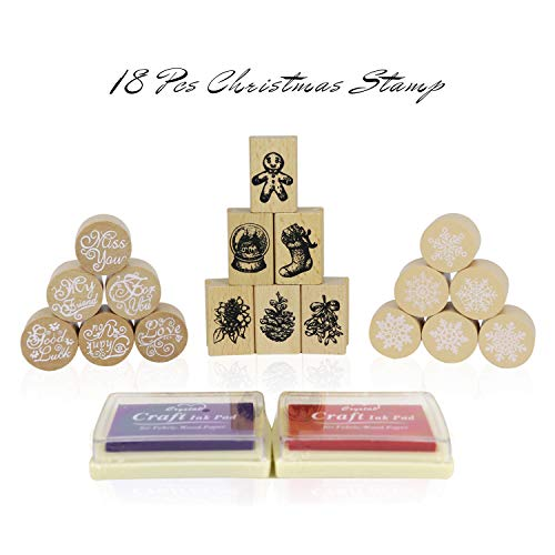 Christmas Stamp Rubber Set,18 Pcs Wooden Stamp Set, Signs, Snowflake & Greetings Stamps for Letter Card Making, Friendly Wooden Christmas Rubber Stamp Party Toy for Boy Girl with Ink Pad