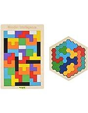 Hotgod Houten Tetris puzzel zeshoek puzzels voor peuters Tangram legpuzzel, Montessori educatief cadeau voor kinderen en volwassenen