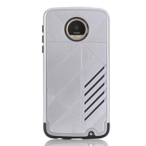 Price comparison product image For MOTO Z PLAY CASE , TOOPOOT Rubber Armor Hybrid Back Case For MOTO Z PLAY (white)
