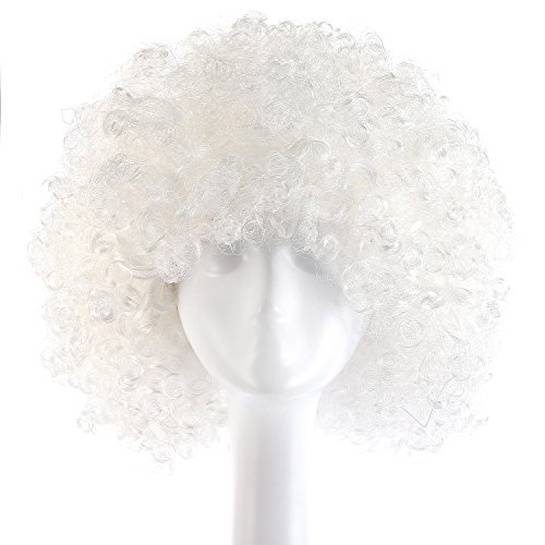 MapofBeauty 35cm Fashion Holiday Fluffy Funny Show Clown Wig (White) - White Afro Wig