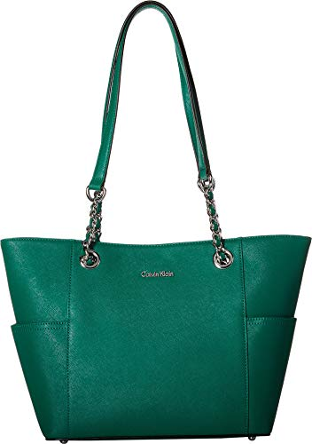 Pocket Lined Tote Fully Two (Calvin Klein Women's Key Item Saffiano Leather Tote Leaf One Size)