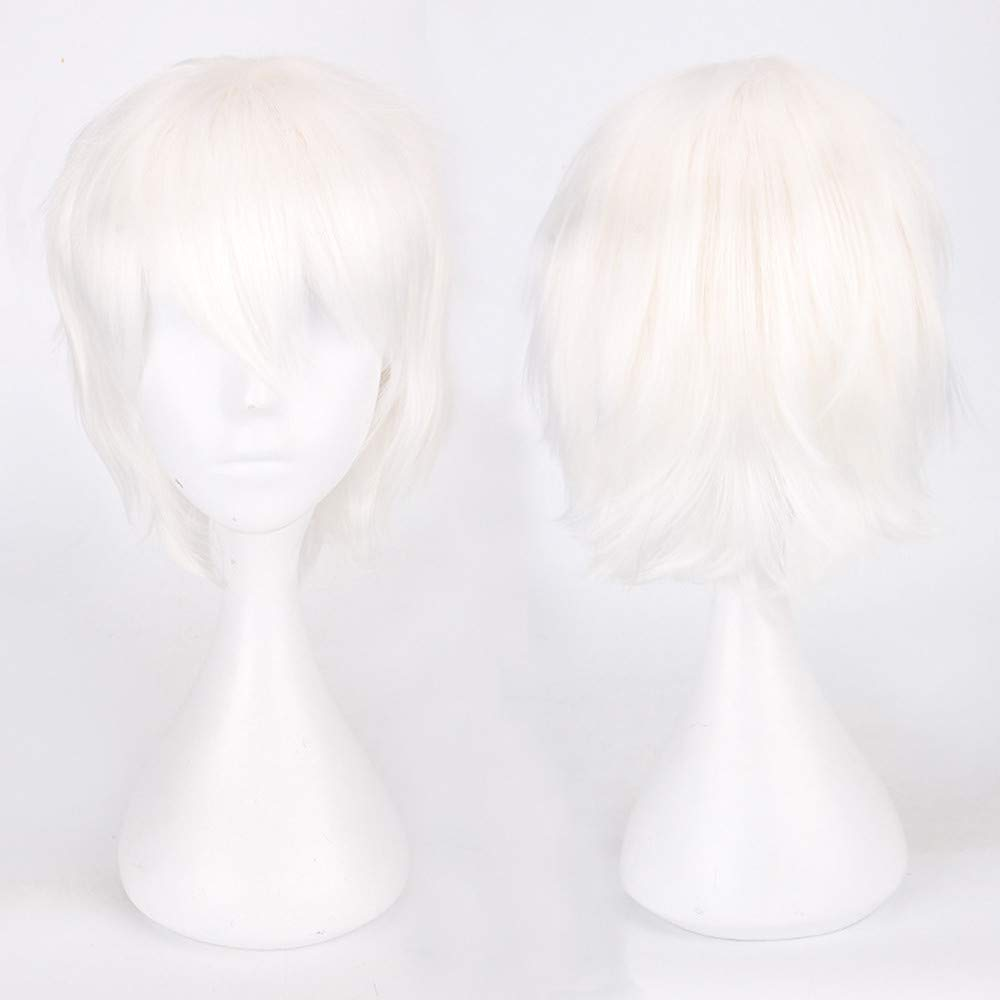 Anime Wigs Cosplay Brown Purple Short Multi Color Straight Hair 35cm Party Halloween (white) by Leewa (Image #3)