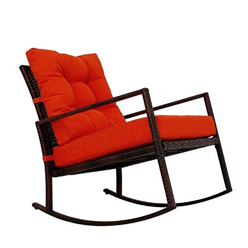 Kinbor Rattan Rocker Chair Outdoor Garden Rocking Chair Wicker Lounge w/Cushion (Orange)