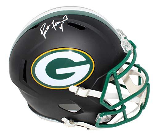 Favre Brett Helmet (Signed Brett Favre Helmet - Flat Black Matte Riddell Full Size Replica Speed - Autographed NFL Helmets)