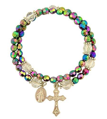 CB Catholic Purple Wrap Style Rosary Bracelet with Dangle Crucifix & Miraculous Medal, Beaded, 8