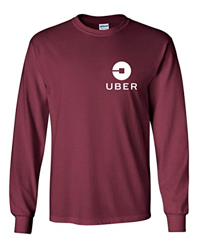Uber Driver New Logo Men's Gildan Heavy Cotton Long Sleeve T Shirt Tee New   Maroon