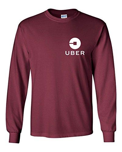 Uber Driver New Logo Men's Gildan Heavy Cotton Long Sleeve T Shirt Tee New   Maroon