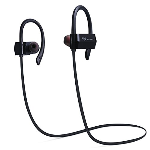 SAVFY Bluetooth Headphones, Wireless 4.1 Magnetic Earbuds Stereo Earphones, Secure Fit for Sports with Built-in Mic, Black