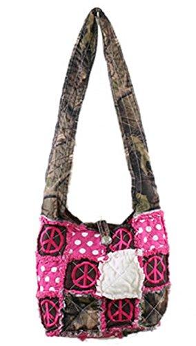 (SS Camo Hippy Peace Rag Bag Peace Messenger Cross Body Hipster Purse (Pink))