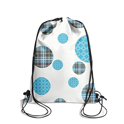 (Rkouquhuaqi Polka Dot Blue Drawstring Backpack Bags Sports Sack Pack Cinch Storage Bags for Gym Traveling Shopping Yoga)