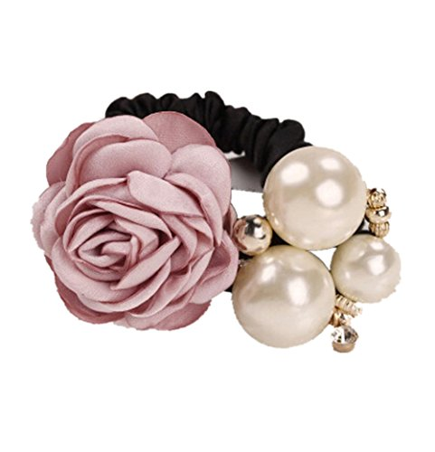 Make Satin Ribbon Roses - Leoy88 Women Hair Band Satin Ribbon Rose Flower Pearls Hairband Ponytail Holder (Pink)