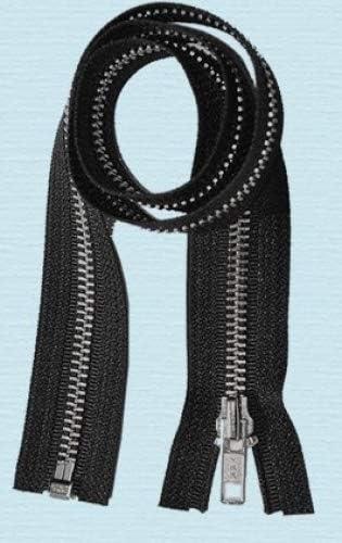 30\ Jacket Zipper ~ YKK #5 Aluminum Metal ~ Medium Weight YKK Zipper ~ Separating Bottom ~ Black 1 Zipper