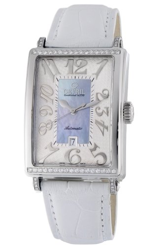 Gevril Women's 6207NT.1 Blue Mother-of-Pearl Genuine Alligator Strap Watch