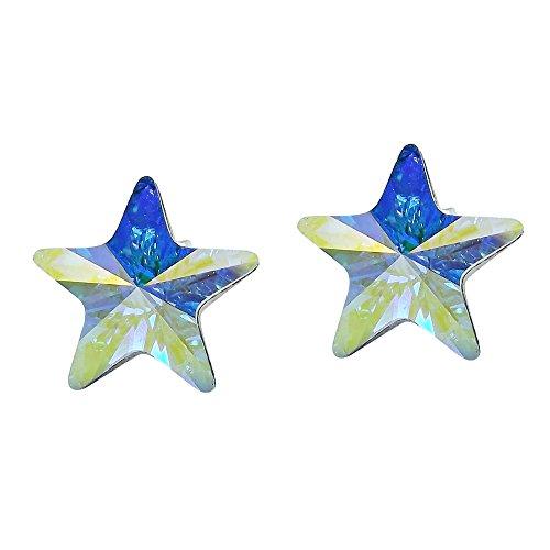 - Prism White Blue Crystal Star .925 Sterling Silver Stud Earrings
