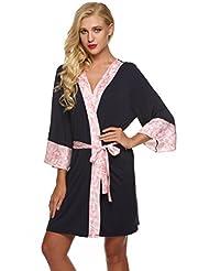 Ekouaer Robe Womens Kimono Bathrobes Lightweight Viscose Loungerwear Short (XS-XL)