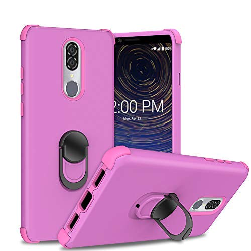 Coolpad Legacy,[Military Grade Drop Tested] Ring Kickstand Matte Case with Ring Kickstand, Shockproof and Anti-Drop Protection Cases for Coolpad Legacy 6.4inch (2019)/3705A Case - Purple ()